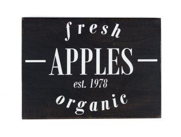 fresh apples wooden sign
